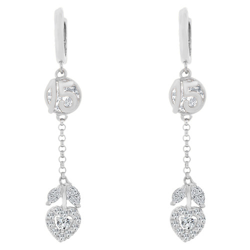 14k Gold White Rhodium, Quinceanera 15 Anos Drop Earring Created CZ Crystals (E022-064)