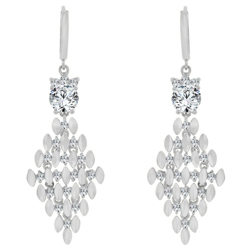 14k Gold White Rhodium, Fancy Diacut Chandelier Earring Created CZ Crystals (E022-067)