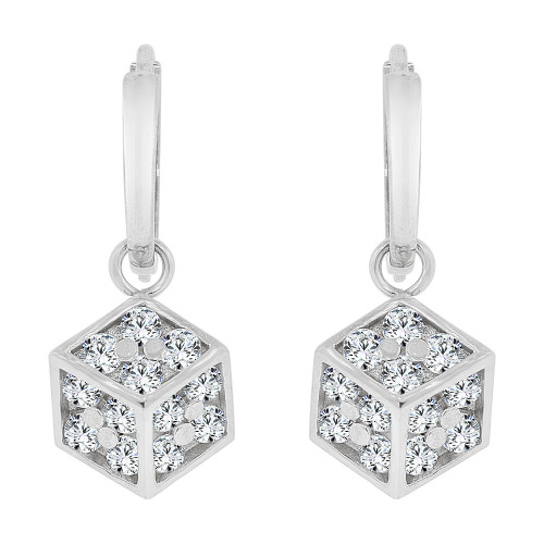 14k Gold White Rhodium, Box Design Dangling Earring Created CZ Crystals (E022-070)