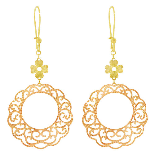 14k Yellow & Rose Gold, Fancy Extra Sparkly Brilliant Cut Drop Earring (E023-028)