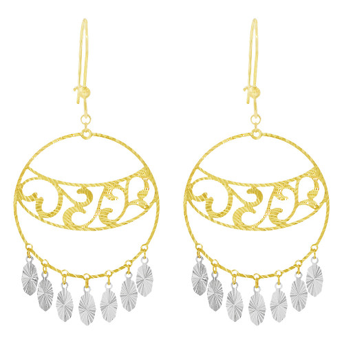 14k Yellow & White Gold, Fancy Extra Sparkly Brilliant Cut Drop Earring (E023-029)