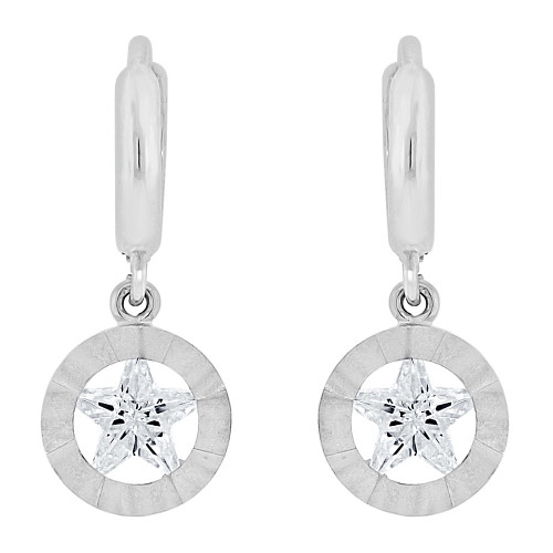 14k Gold White Rhodium, Drop Earring Created Star Created CZ Crystals (E023-055)