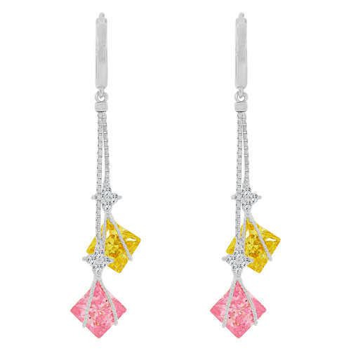14k Gold White Rhodium, Colorful Drop Earring Brilliant Created CZ Crystals (E023-062)