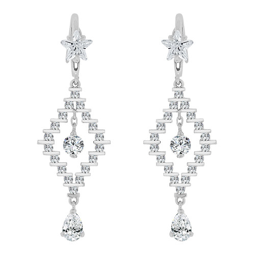 14k Gold White Rhodium, Geometric Drop Earring Sparkly Created CZ Crystals (E023-063)