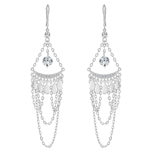 14k Gold White Rhodium, Fancy Chandelier Earring Brilliant Created CZ Crystals (E023-070)
