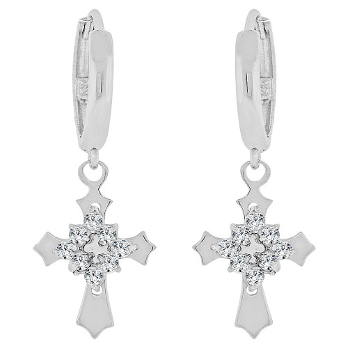 14k Gold White Rhodium, Cross Drop Earring Brilliant Created CZ Crystals (E023-071)