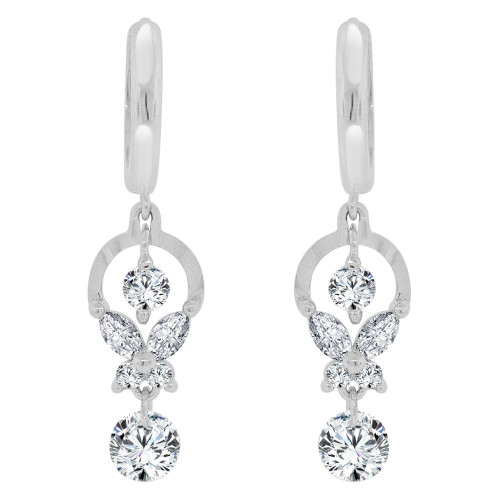 14k Gold White Rhodium, Abstract Drop Earring Brilliant Created CZ Crystals (E023-074)