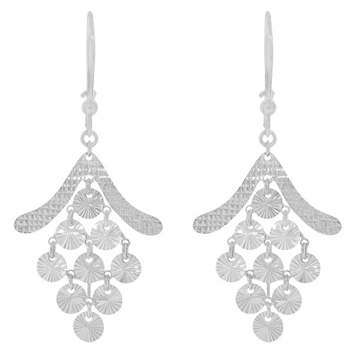 14k Gold White Rhodium, Fancy Extra Sparkly Brilliant Cut Chandelier Earring (E023-080)