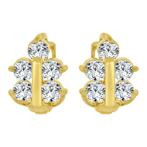 14k Yellow Gold, Mini Hoop Huggies Earring Cluster Created CZ Crystals (E024-003)
