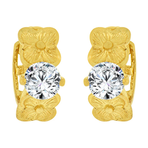 14k Yellow Gold, Mini Hoop Huggies Earring Flower Created CZ Crystals (E024-008)