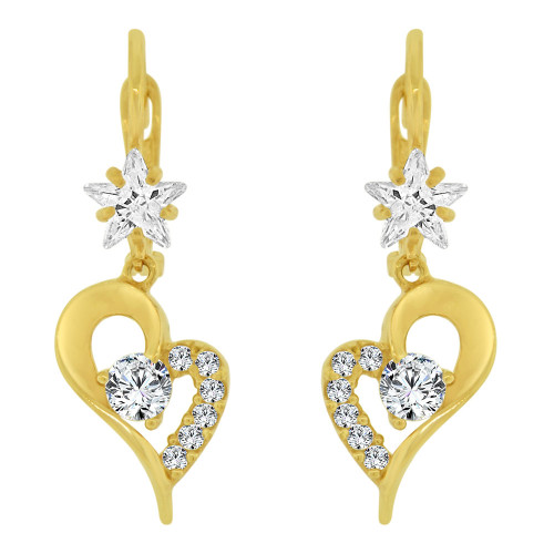 14k Yellow Gold, Heart Design Dangling Earring Created CZ Crystals (E024-020)