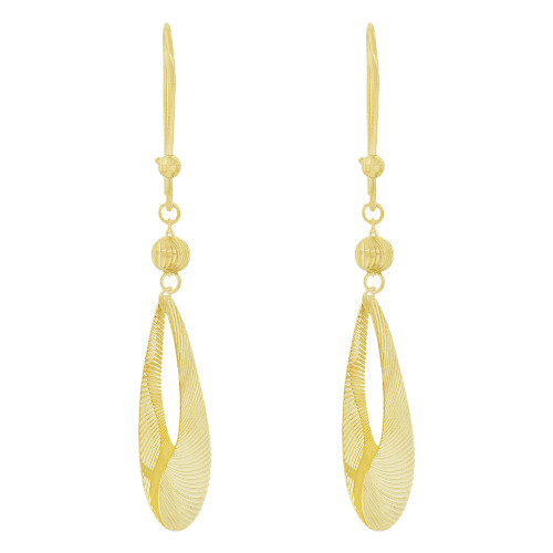 14k Yellow Gold, Fancy Pear Shape Extra Sparkly Brilliant Cut Drop Dangle Earring (E024-026)