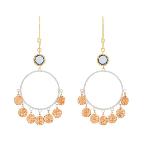 14k Tricolor Gold, Fancy Chandelier Extra Sparkly Blue Created CZ Crystals Dangle Earring (E024-027)