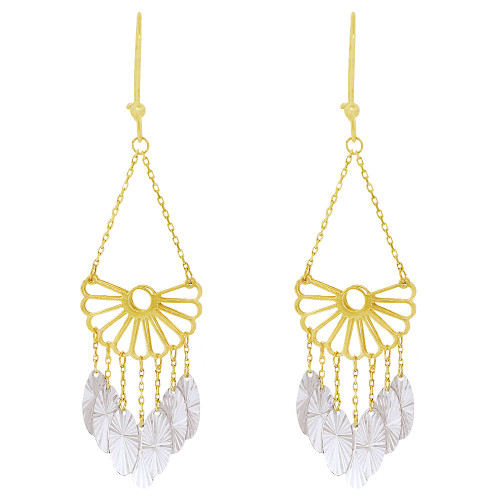 14k Yellow & White Gold, Fancy Chandelier Extra Sparkly Brilliant Cut Drop Dangle Earring (E024-029)