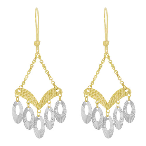 14k Yellow & White Gold, Fancy Chandelier Extra Sparkly Brilliant Cut Drop Dangle Earring (E024-032)