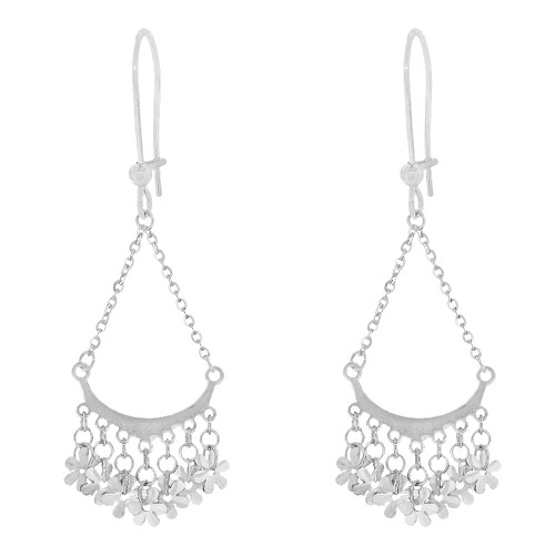 14k Gold White Rhodium, Fancy Chandelier Extra Sparkly Brilliant Cut Drop Dangle Earring (E024-075)