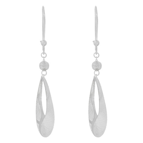 14k Gold White Rhodium, Fancy Pear Shape Extra Sparkly Brilliant Cut Drop Dangle Earring (E024-076)