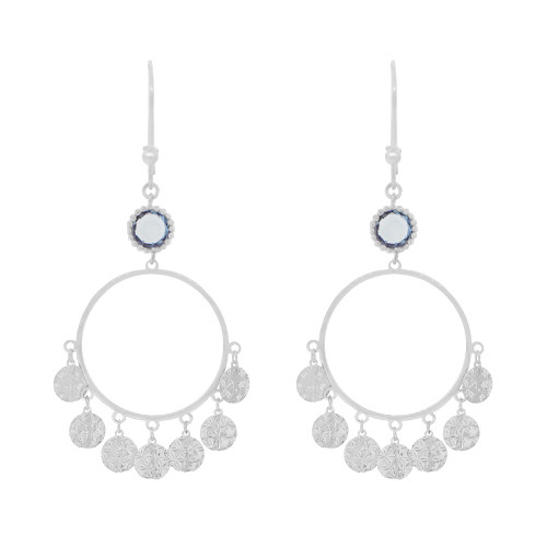 14k Gold White Rhodium, Fancy Chandelier Extra Sparkly Blue Created CZ Crystals Earring (E024-077)