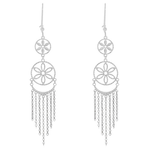 14k Gold White Rhodium, Fancy Chandelier Extra Sparkly Brilliant Cut Drop Dangle Earring (E024-078)