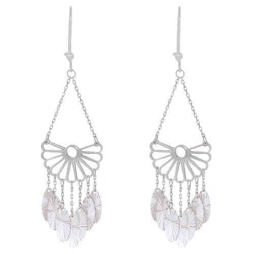 14k Gold White Rhodium, Fancy Chandelier Extra Sparkly Brilliant Cut Drop Dangle Earring (E024-079)