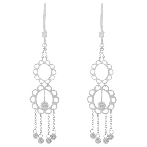 14k Gold White Rhodium, Fancy Chandelier Extra Sparkly Brilliant Cut Drop Dangle Earring (E024-080)