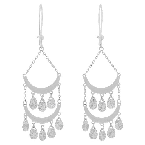 14k Gold White Rhodium, Fancy Chandelier Extra Sparkly Brilliant Cut Drop Dangle Earring (E024-081)