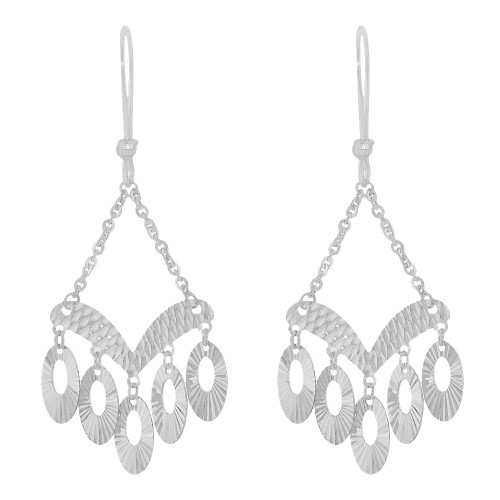 14k Gold White Rhodium, Fancy Chandelier Extra Sparkly Brilliant Cut Drop Dangle Earring (E024-082)