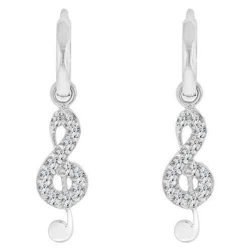 14k Gold White Rhodium, Musical Note Dangling Drop Earring Created CZ Crystals (E025-055)