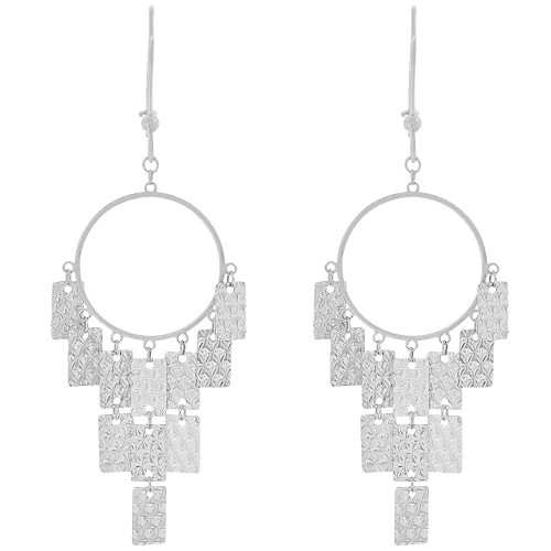 14k Gold White Rhodium, Fancy Chandelier Extra Sparkly Brilliant Cut Dangle Earring (E025-075)