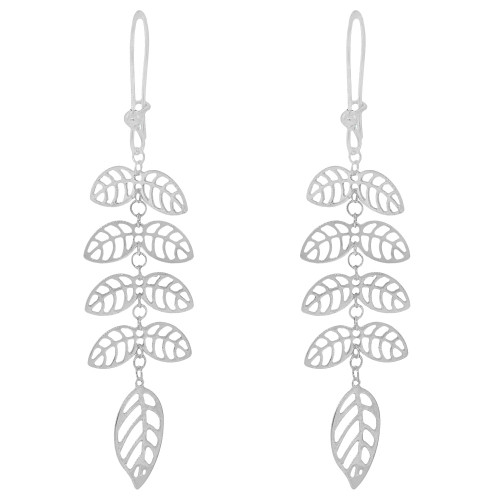 14k Gold White Rhodium, Fancy Leaf Designs Drop Dangle Earring (E025-076)