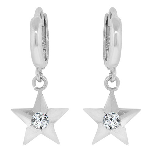 14k Gold White Rhodium, Dangling Drop Earring Stars & Created CZ Crystals (E026-051)