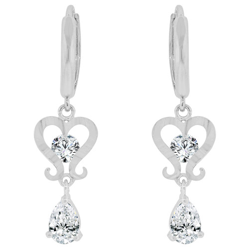 14k Gold White Rhodium, Heart Dangling Drop Earring Created CZ Crystals (E026-070)