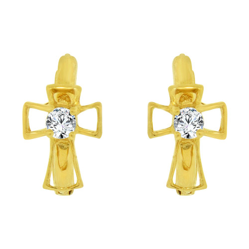 14k Yellow Gold, Cross Mini Hoop Stud Huggies Earring Created CZ Crystals (E027-001)