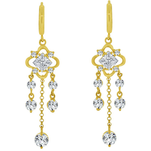14k Yellow Gold, Chandelier Dangling Earring Created CZ Crystals (E027-003)