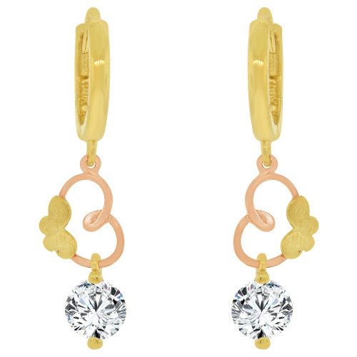 14k Yellow & Rose Gold, Elegant Dangling Heart Earring Created CZ Crystals (E027-005)