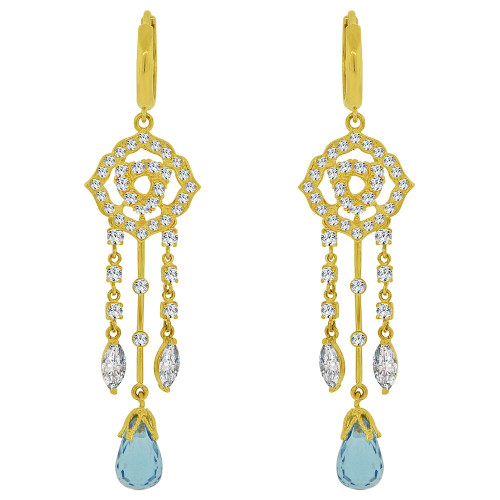 14k Yellow Gold, Long Fancy Chandelier Dangling Earring Aqua Blue Created CZ Crystals (E027-023)