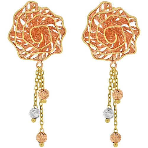 14k Tricolor Gold, Fancy Rose Filigree Dangle Earring (E027-024)