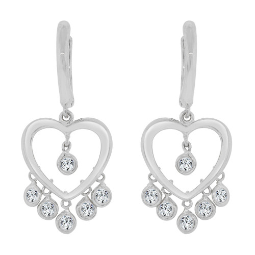 14k Gold White Rhodium, Adorable Dangling Heart Earring Created CZ Crystals (E027-054)