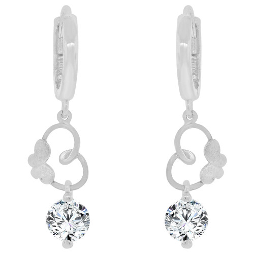14k Gold White Rhodium, Elegant Dangling Heart Earring Created CZ Crystals (E027-055)