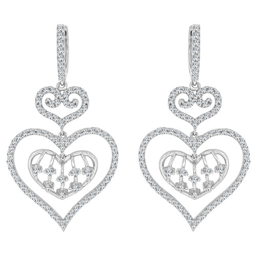 14k Gold White Rhodium, Fancy Heart Chandelier Earring Created CZ Crystals (E027-056)