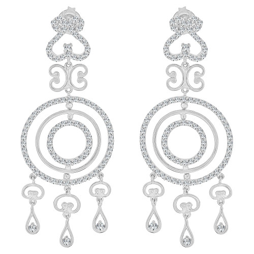 14k Gold White Rhodium, Fancy Chandelier Style Dangling Earring Created CZ Crystals (E027-061)