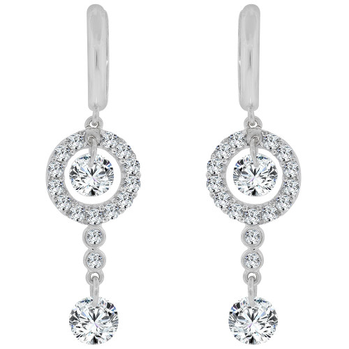 14k Gold White Rhodium, Dangling Drop earring Created CZ Crystals (E027-062)