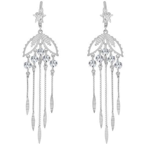 14k Gold White Rhodium, Long Chandelier Style Dangling Earring Created CZ Crystals (E027-064)