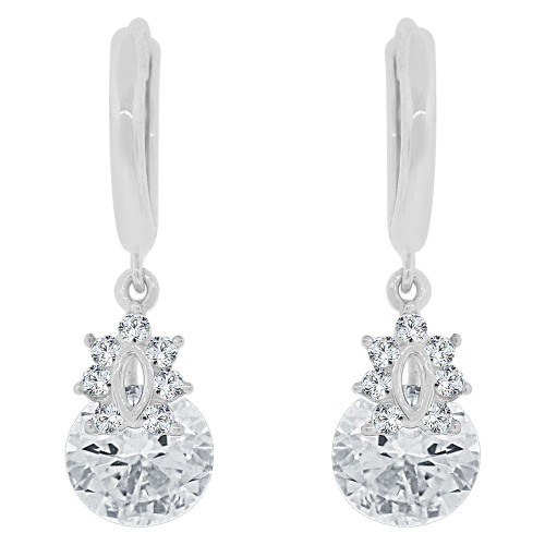 14k Gold White Rhodium, Small Dangling Drop earring Created CZ Crystals (E027-065)