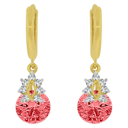 14k Yellow Gold, Small Dangling Drop earring Pink Created CZ Crystals (E027-067)