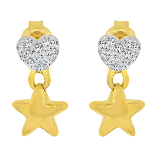 14k Yellow Gold White Rhodium, Hearts & Stars Design Dangle Earring Created CZ Crystals (E028-001)