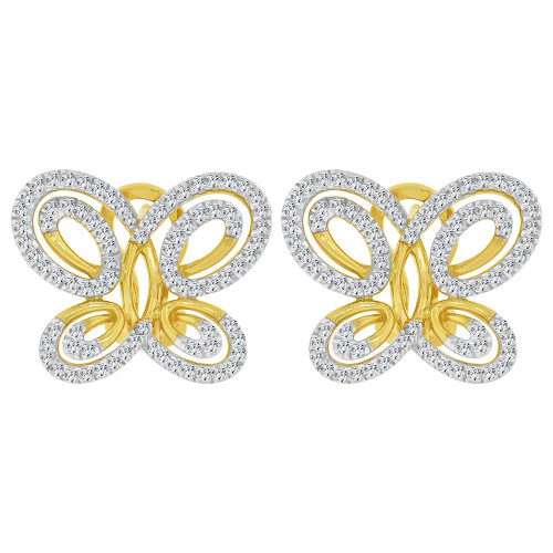 14k Yellow Gold, Fancy Modern Butterfly Design Earring Created CZ Crystals (E028-004)