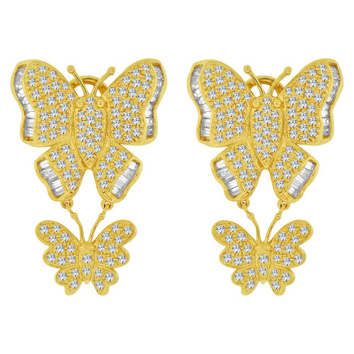 14k Yellow Gold, Large Fancy Dangling Butterfly Earring Created CZ Crystals (E028-005)
