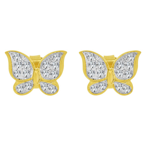 14k Yellow Gold White Rhodium, Small Butterfly Stud Earring Created CZ Crystals (E028-006)