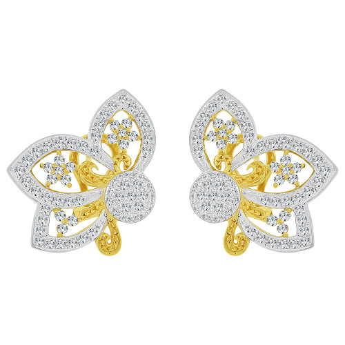 14k Yellow Gold White Rhodium, Fancy Bow & Lace Design Large Earring Created CZ Crystals (E028-012)